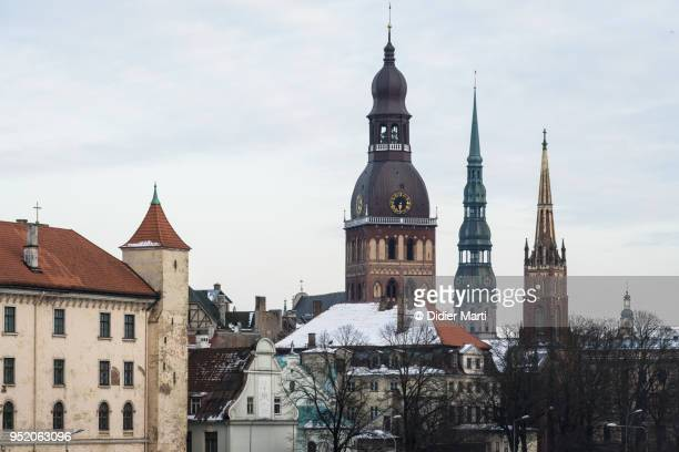 RIga cathedral bell tower with the Riga castle in Latvia