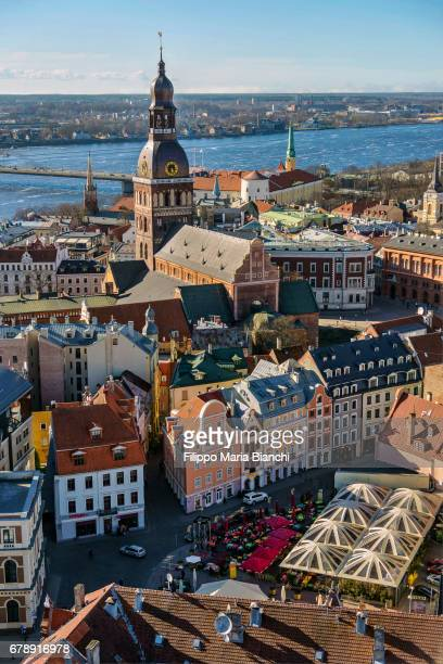 riga from above - latvia stock pictures, royalty-free photos & images