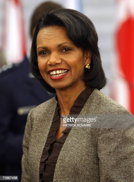 US Secretary of State Condoleezza Rice smiles upon arriving at the Nato Summit working session in Riga Latvia 29 November 2006 Leaders from the 26...