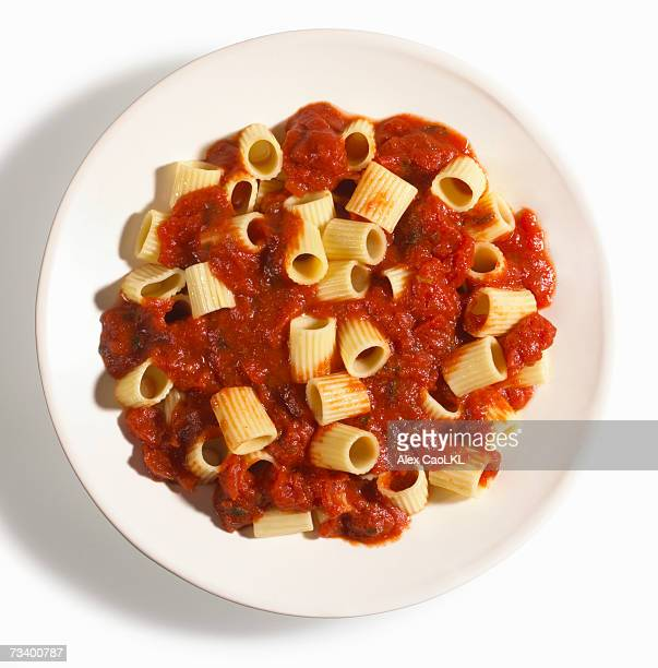 Rigatoni pasta with marinara sauce on plate