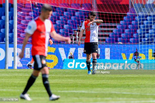 Rigeciano Haps of Feyenoord Rotterdam dejected after scoring an own goal during the Dutch Eredivisie match between Feyenoord Rotterdam and Ajax at...