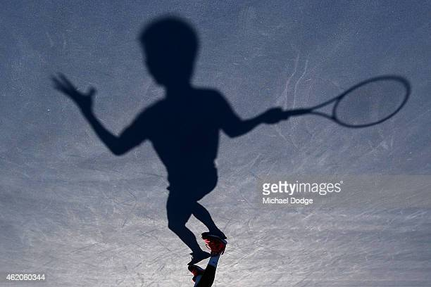 Rigele Te of China in action in his match against Mate Valkusz of Hungary during the Australian Open 2015 Junior Championships at Melbourne Park on...