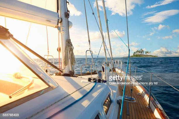 rigging and sail on yacht deck - yacht stock pictures, royalty-free photos & images