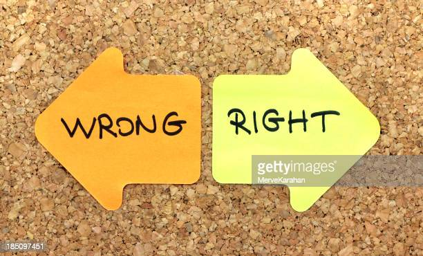 Right and wrong directional signs
