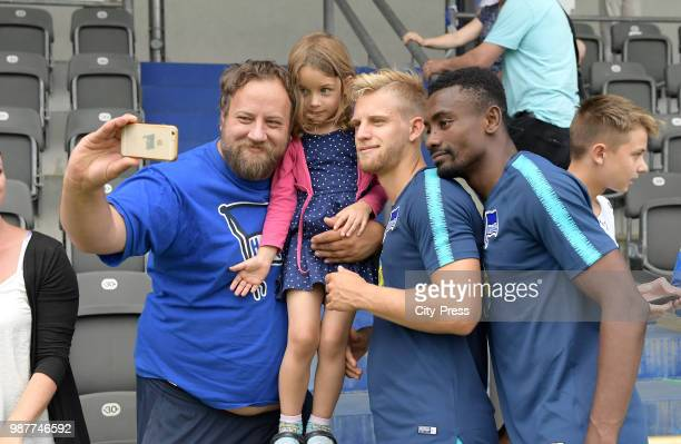 right Arne Maier and Salomon Kalou of Hertha BSC during the first training at Wurfplatz/Amateurstadion on June 28 2018 in Berlin Germany