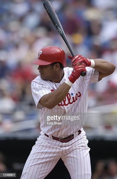 Right fielder Bobby Abreu of the Philadelphia Phillies stands ready at the plate against the Arizona Diamondbacks during the MLB game at Veterans...