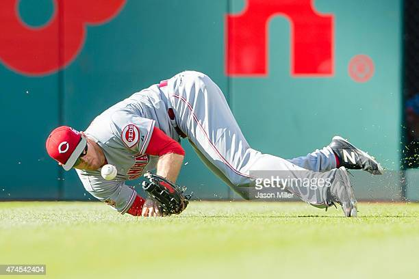 Right fielder Brennan Boesch of the Cincinnati Reds drops a fly ball hit by Jason Kipnis of the Cleveland Indians during the sixth inning at...