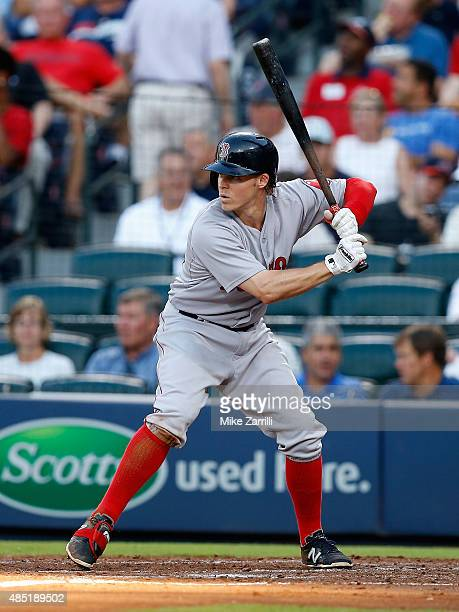 Right fielder Brock Holt of the Boston Red Sox waits for a pitch in the batter's box during the game against the Atlanta Braves at Turner Field on...
