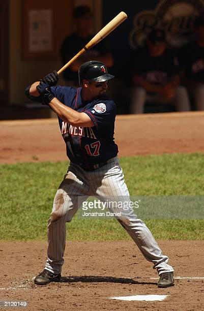 Right fielder Dustan Mohr of the Minnesota Twins waits for the pitch during the interleague game against the Milwaukee Brewers on June 22 2003 at...