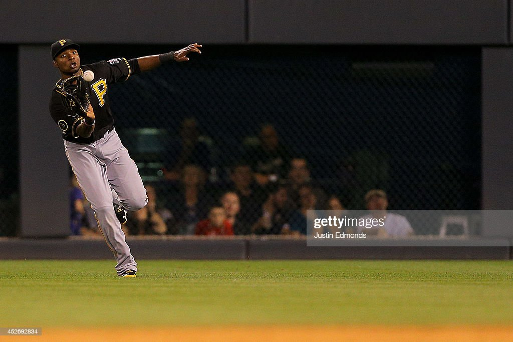 Right fielder Gregory Polanco #25 of the Pittsburgh Pirates makes a catch on the run for the first out of the seventh inning against the Colorado Rockies at Coors Field on July 25, 2014 in Denver, Colorado.