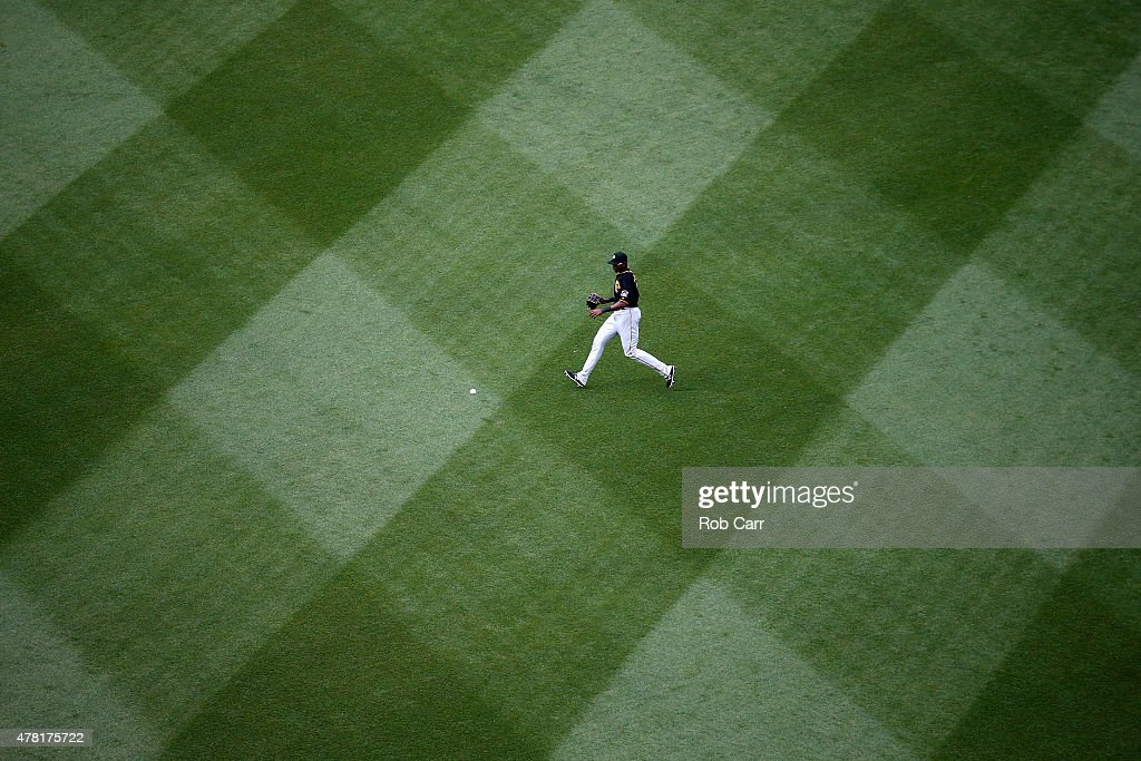 Right fielder Gregory Polanco #25 of the Pittsburgh Pirates makes a play on a ball hit by the Washington Nationals at Nationals Park on June 20, 2015 in Washington, DC.
