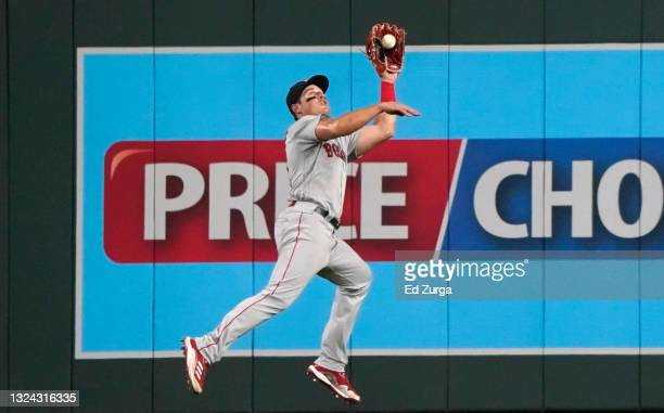 Right fielder Hunter Renfroe of the Boston Red Sox catches a ball hit by Kelvin Gutierrez of the Kansas City Royals in the sixth inning at Kauffman...