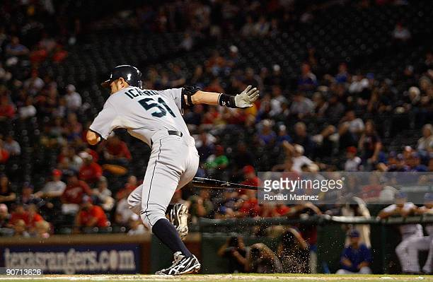 Right fielder Ichiro Suzuki of the Seattle Mariners gets his 200 hit of the season against the Texas Rangers on September 13 2009 during game two of...