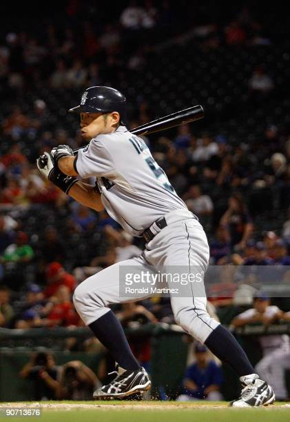 Right fielder Ichiro Suzuki of the Seattle Mariners gets his 200 hit of the season against the Texas Rangers on September 13, 2009 during game two of...