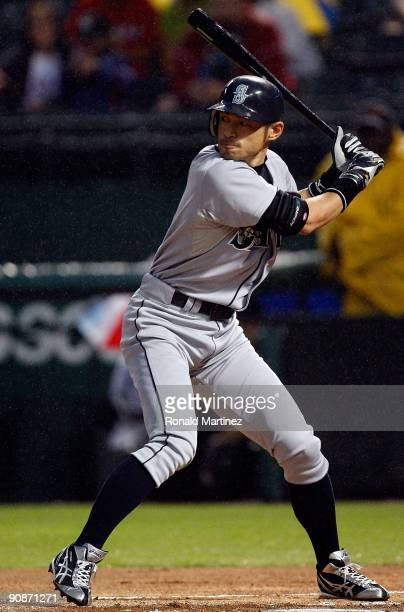 Right fielder Ichiro Suzuki of the Seattle Mariners on September 12 2009 at the Ballpark in Arlington Texas