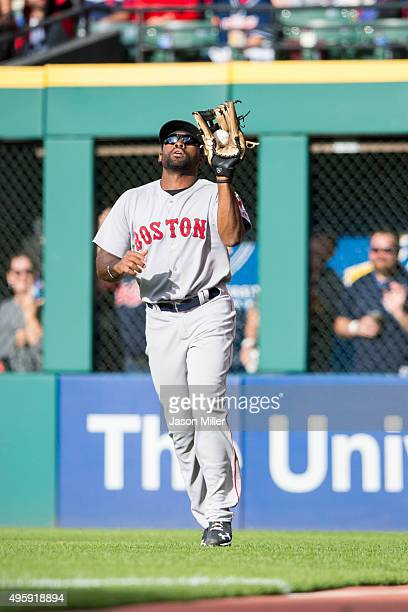 Right fielder Jackie Bradley Jr #25 of the Boston Red Sox catches a fly ball hit by Carlos Santana of the Cleveland Indians during the fifth inning...
