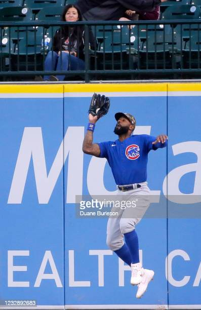 Right fielder Jason Heyward of the Chicago Cubs catches a fly ball hit by Niko Goodrum of the Detroit Tigers during the third inning at Comerica Park...