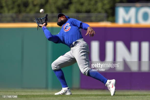 Right fielder Jason Heyward of the Chicago Cubs catches a fly ball hit by Cesar Hernandez of the Cleveland Indians during the eighth inning at...