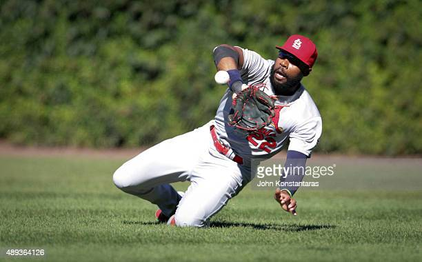 Right fielder Jason Heyward of the St Louis Cardinals catches a ball off the bat of Kris Bryant of the Chicago Cubs during the sixth inning at...