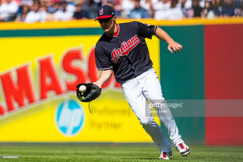 Right fielder Jay Bruce #32 of the Cleveland Indians fields a hit by Adam Jones #10 of the Baltimore Orioles during the sixth inning at Progressive Field on September 9, 2017 in Cleveland, Ohio.