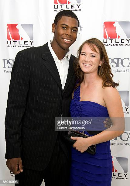 Right fielder John Mayberry of the Philadelphia Phillies and a guest attend the 2nd Annual Utley AllStar Animals Casino Night at The FUEL Collection...