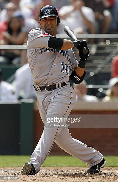 Right fielder Jose Bautista of the Toronto Blue Jays bats against the Texas Rangers on Opening Day at Rangers Ballpark on April 5 2010 in Arlington...
