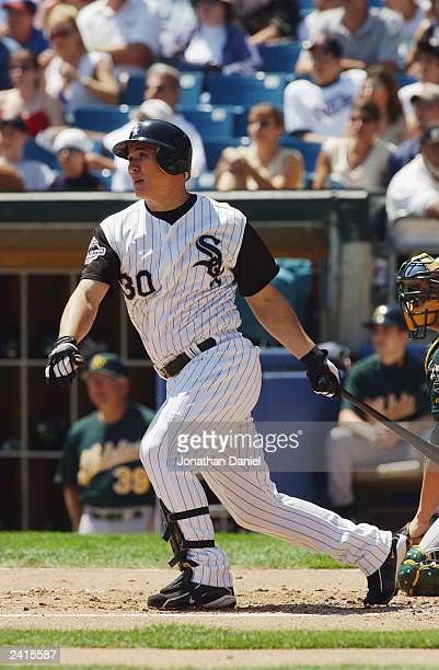 Right fielder Magglio Ordonez of the Chicago White Sox swings at a pitch during the American League game against the Oakland Athletics at US Cellular...