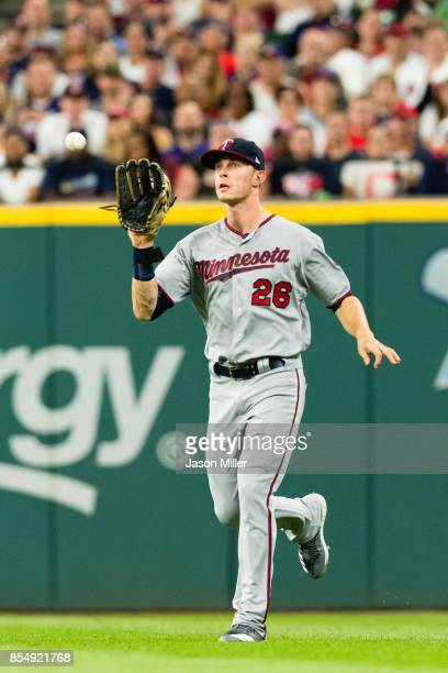 Right fielder Max Kepler of the Minnesota Twins catches a fly ball hit by Yandy Diaz of the Cleveland Indians during the second inning at Progressive...