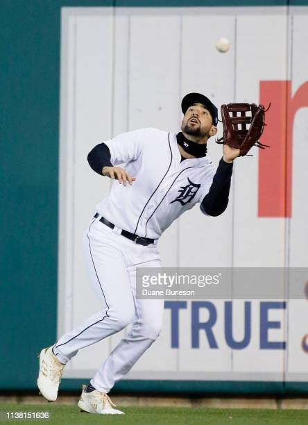 Right fielder Nicholas Castellanos of the Detroit Tigers catches a fly ball hit by Eloy Jimenez of the Chicago White Sox during the sixth inning at...