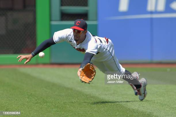 Right fielder Oscar Mercado of the Cleveland Indians catches a line drive from Yandy Diaz of the Tampa Bay Rays during the sixth inning at...