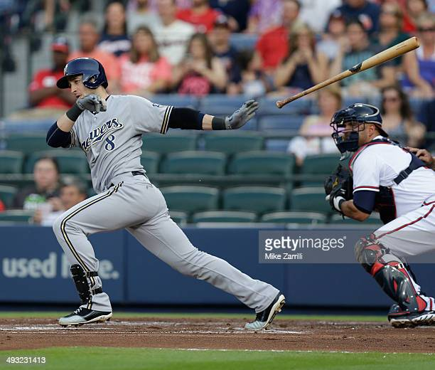 Right fielder Ryan Braun of the Milwaukee Brewers follows through on a swing during the game against the Atlanta Braves at Turner Field on May 22...
