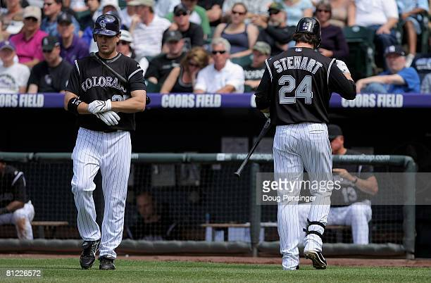 Right fielder Seth Smith and third baseman Ian Stewart of the Colorado Rockies were called up from TripleA Colorado Springs to play against the New...