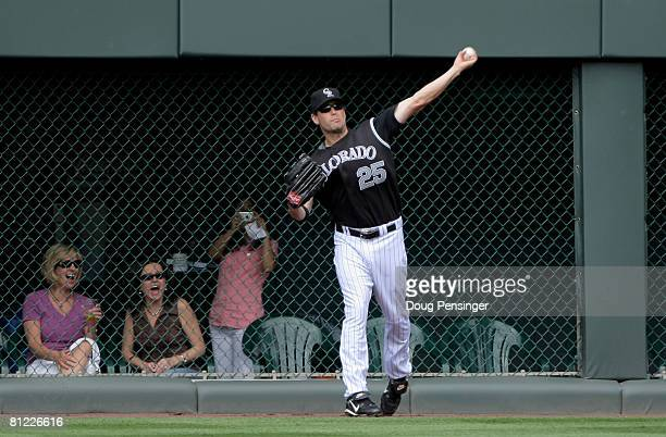 Right fielder Seth Smith of the Colorado Rockies was called up from TripleA Colorado Springs to play against the New York Mets at Coors Field on May...