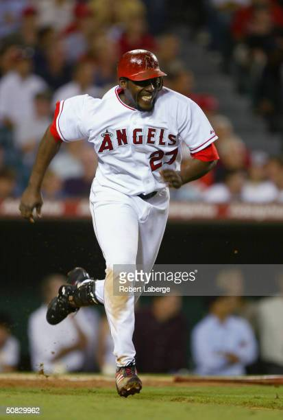 Right fielder Vladimir Guerrero of the Anaheim Angels runs to first base during the game against the Detroit Tigers on May 5 2004 at Angel Stadium in...