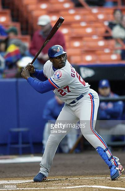 Right fielder Vladimir Guerrero of the Montreal Expos waits for the pitch during the game against the New York Mets at Shea Stadium on April 5 2003...