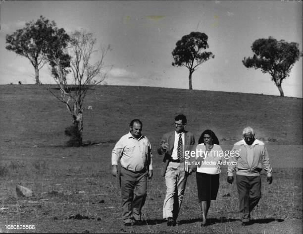 2 Right Geoff Thomas of the Common Trust man in tie Justice French Lady Rose Chown of the Wiradjuri Tribe left Bill Riley of the Wellington...