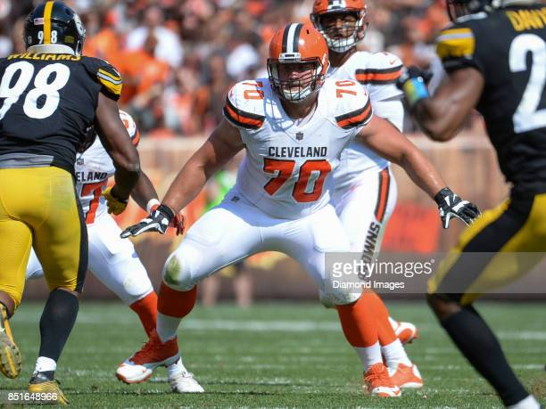 Right guard Kevin Zeitler of the Cleveland Browns prepares to engage defenders in the third quarter of a game on September 10 2017 against the...