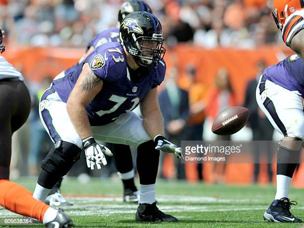 Right guard Marshal Yanda of the Baltimore Ravens prepares to engage a defender during a game against the Baltimore Ravens on September 18 2016 at...
