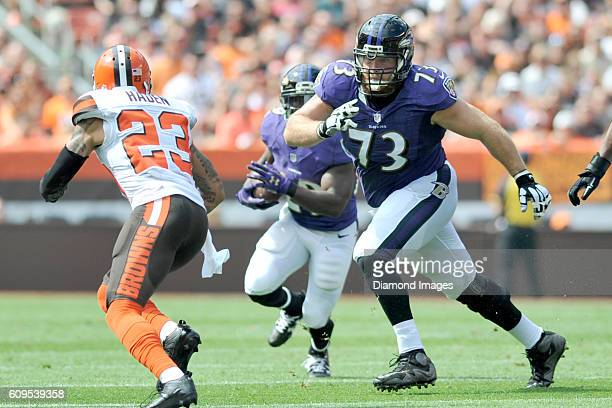 Right guard Marshal Yanda of the Baltimore Ravens pulls to block on a run play during a game against the Baltimore Ravens on September 18 2016 at...