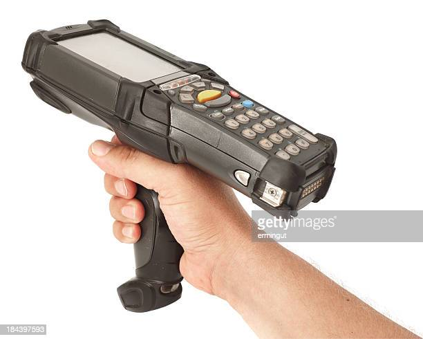 Right hand holding bar code scanner on white background