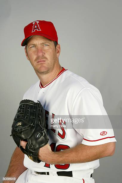 Right handed pitcher Troy Percival of the Anaheim Angels poses for a portrait during the 2004 MLB Spring Training Photo Day at Tempe Diablo Stadium...