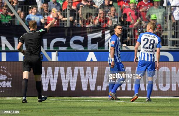 right Karim Rekik and Fabian Lustenberger of Hertha BSC during the Bundesliga game between Hannover 96 and Hertha BSC at HDI Arena on May 5 2018 in...