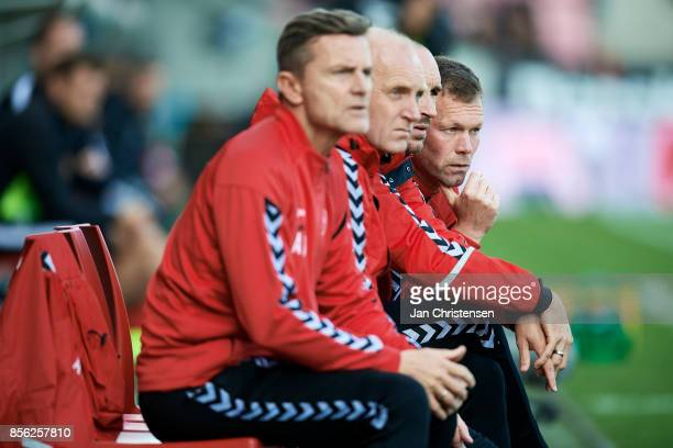 Right Morten Wieghorst head coach of AaB Aalborg looks on during the Danish Alka Superliga match between FC Midtjylland and AaB Aalborg at MCH Arena...