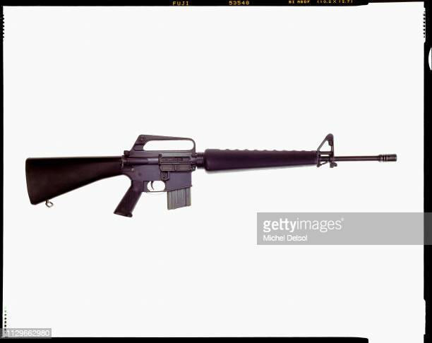 Right profile of an Essential Arms J15 semiautomatic rifle with an attached magazine seen against a white background New York New York March 9 1994...