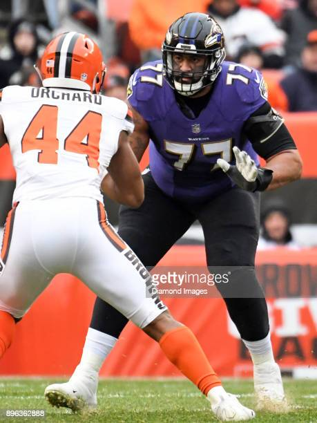 Right tackle Austin Howard of the Baltimore Ravens prepares to engage defensive lineman Nate Orchard of the Cleveland Browns in the first quarter of...