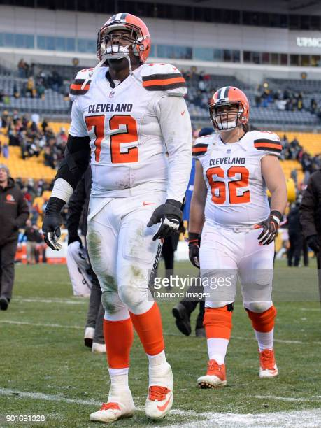 Right tackle Shon Coleman of the Cleveland Browns walks off the field after a game on December 31 2017 against the Pittsburgh Steelers at Heinz Field...
