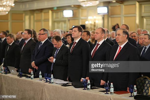 Right to left Alisher Usmanov Russian billionaire owner of USM Holdings Ltd Dmitry Pumpyansky billionaire and owner of OAO TMK Alexey Mordashov...