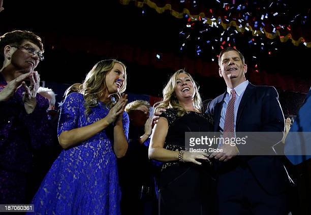 Right to left Marty Walsh celebrates with his longtime partner Lorrie Higgins her daughter Lauren and his mother Mary at his Election Night party at...