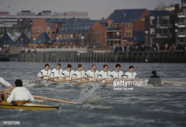 Right to Left rowing the University of Oxford Boat are S E Higgins J L Bland Michael Evans JM Evans Boris Rankov G R D Jones H P Yonge H E Clay and W...