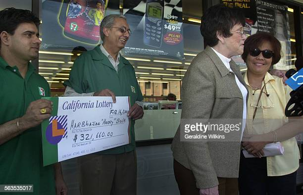 right to left––The third ticket holder Welma Naguit who will share in the 193 million dollar California Lottery jackpot joined Lottery CEO Joan...